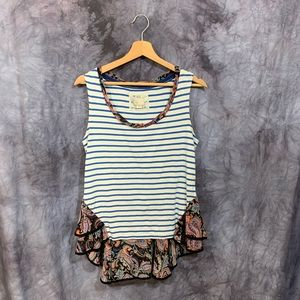 Anthropologie Postmark Striped Paisley Tank Top M